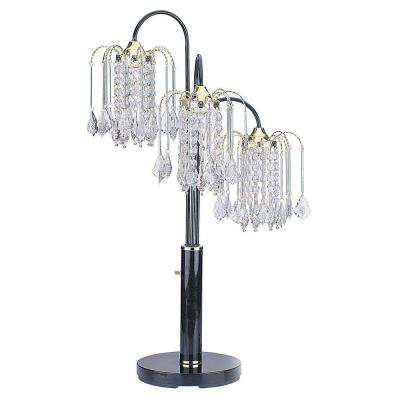34 in. Black Table Lamp with Crystal Like Shades