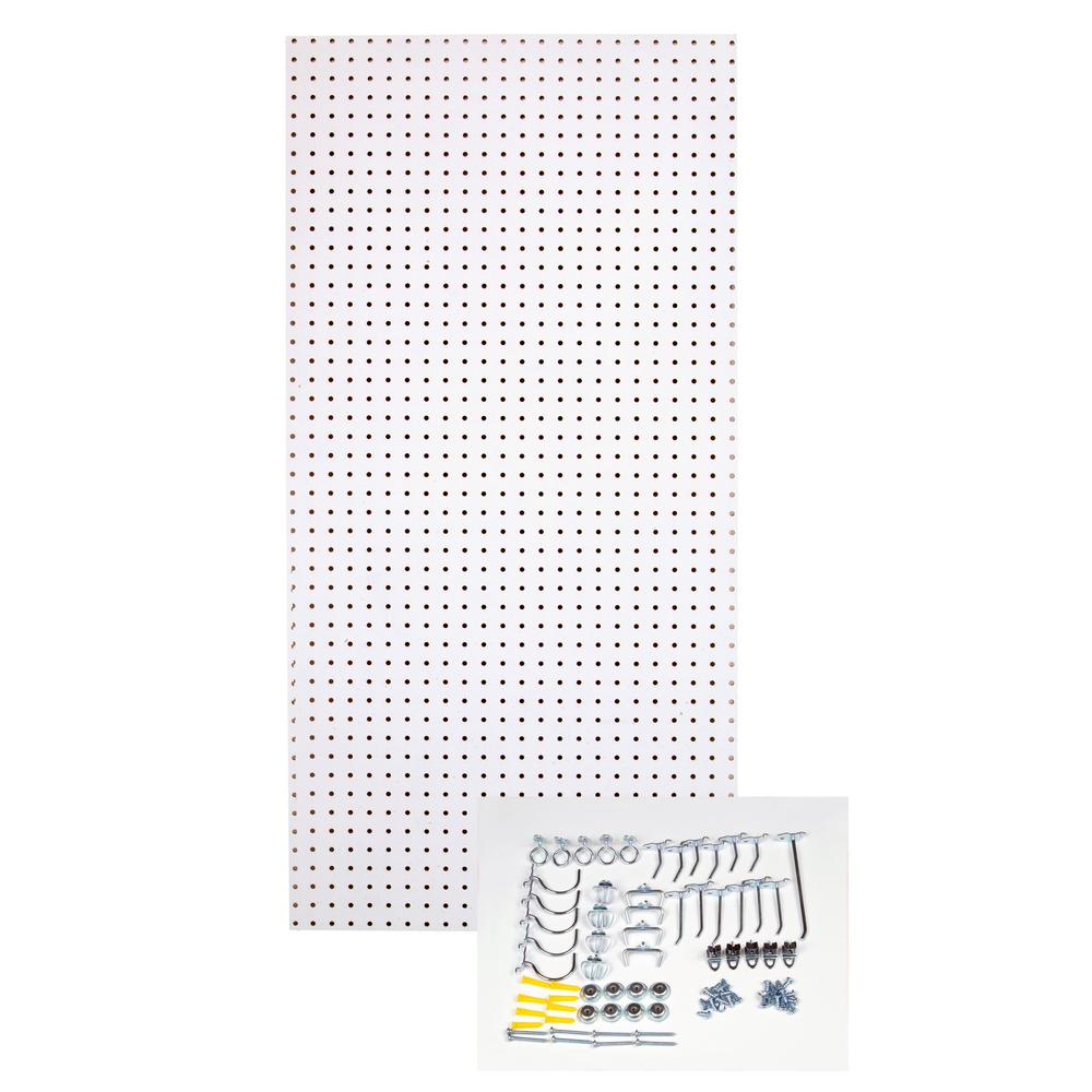1/4 in. Custom Painted Blissful White Pegboard Wall Organizer with 36-Piece