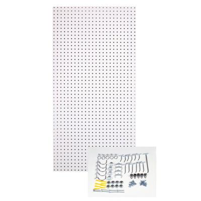 1/4 in. Custom Painted Blissful White Pegboard Wall Organizer with 36-Piece Locking Hooks