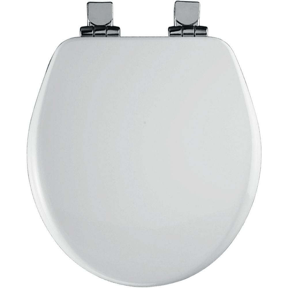 BEMIS Chrome Slow Close Round Closed Front Toilet Seat in White