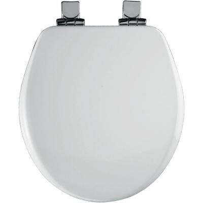 Chrome Slow Close Round Closed Front Toilet Seat in White
