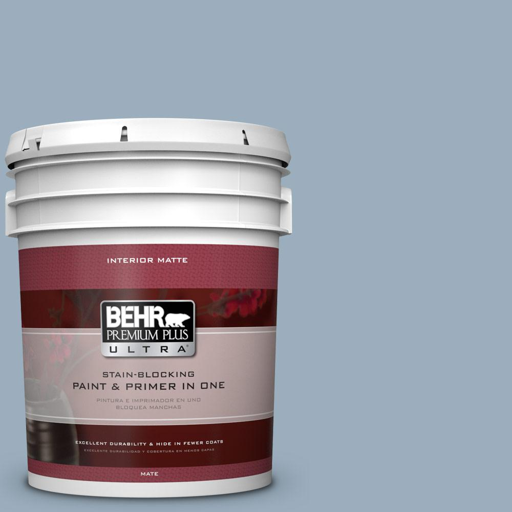 5 gal. #560F-4 Russian Blue Flat/Matte Interior Paint