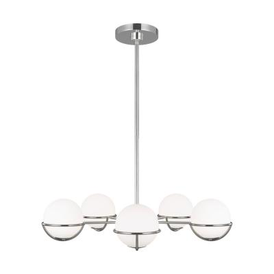 ED Ellen DeGeneres Crafted by Generation Lighting Apollo 32 in. W 5-Light Polished Nickel Chandelier with Globe Shades