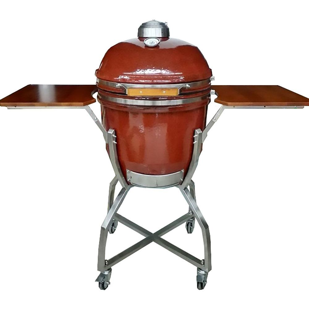 19 in. Ceramic Kamado Grill in Red with Stainless Steel Cart