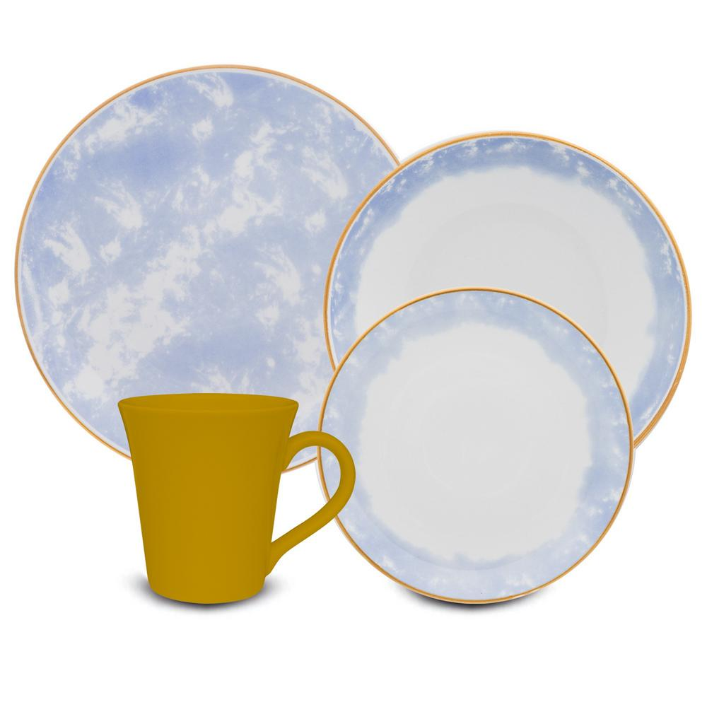 Manhattan Comfort Coup Blue and Yellow 24-Piece Casual Blue and Yellow Porcelain Dinnerware Set (Service for 6) was $289.99 now $172.53 (41.0% off)
