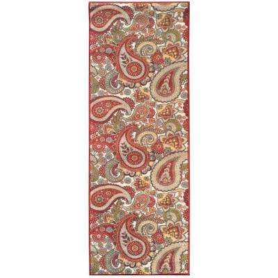 Sweet Home Collection Paisley Design Cream 2 ft. x 5 ft. Indoor Runner Rug