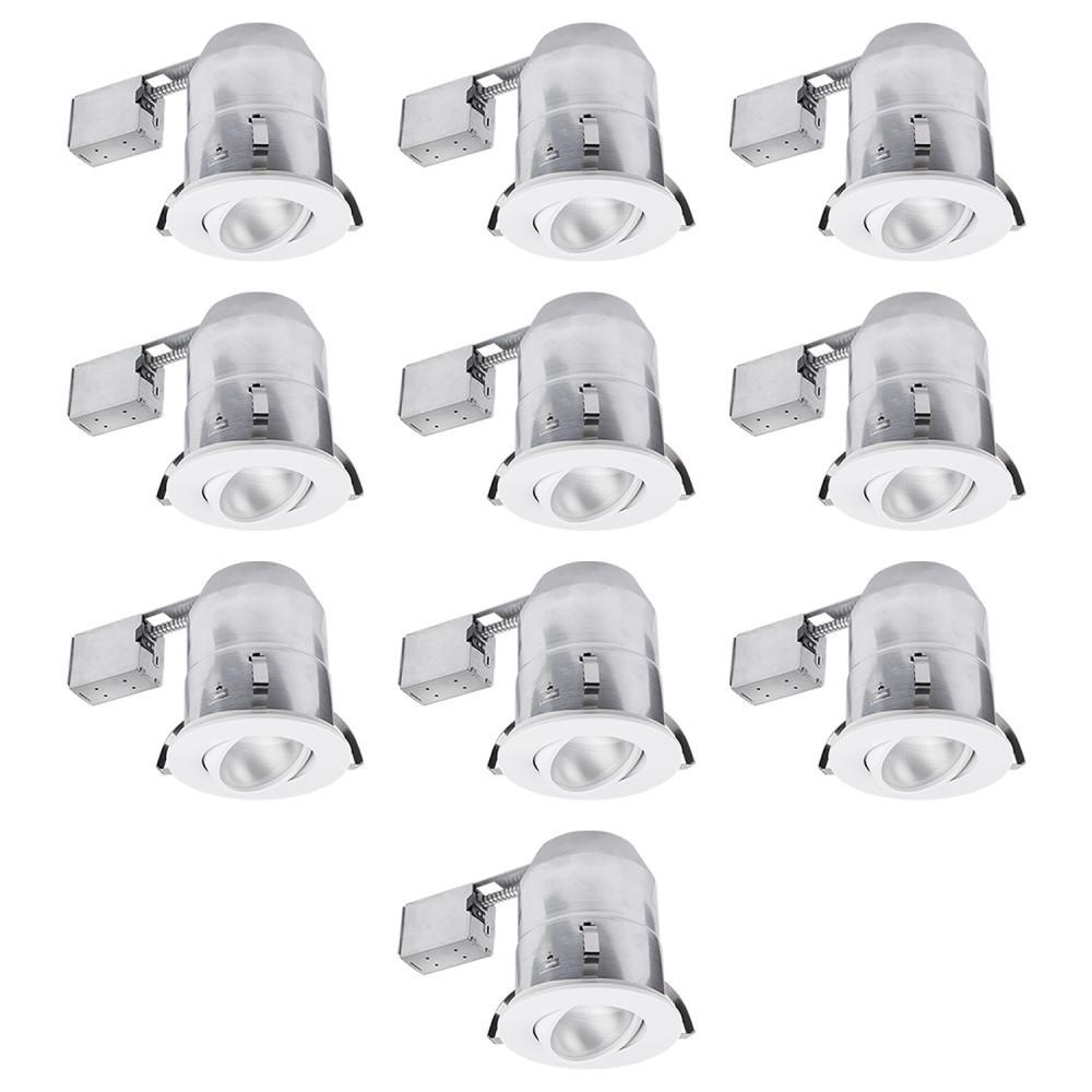 6 in. White Round Recessed Lighting Kit (10-Pack)