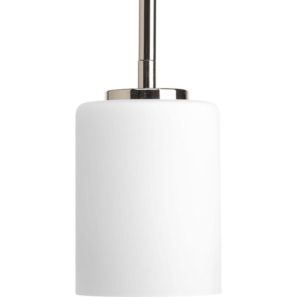 Replay Collection 1-Light Polished Nickel Mini Pendant with Etched White Glass