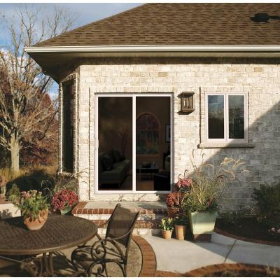 72 in. x 96 in. V-4500 Contemporary White Vinyl Left-Hand Full Lite Sliding Patio Door