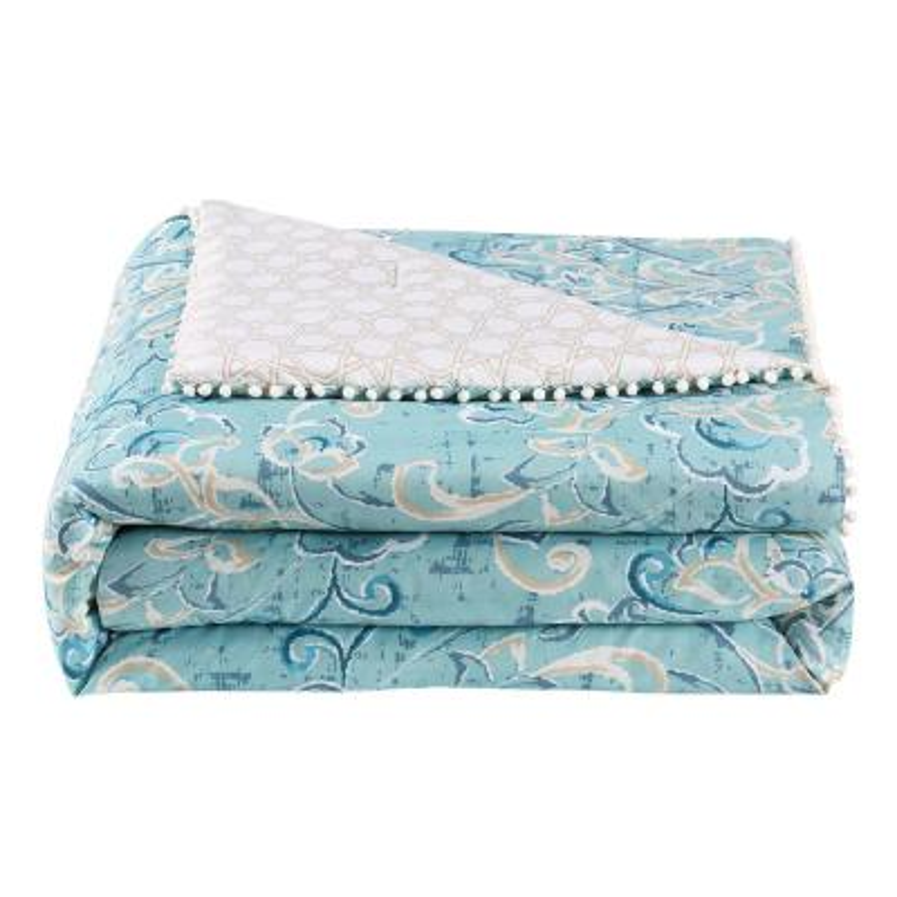 Finley Pom Pom 7-Piece Aqua/White/Taupe Full Comforter Set