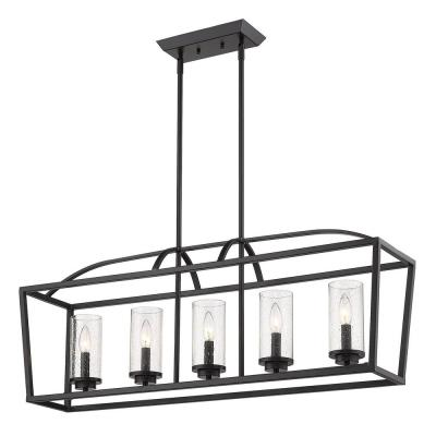 Mercer 5-Light Linear Pendant in Matte Black with Matte Black Accents and Seeded Glass