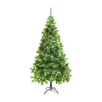 7 ft. Unlit Artificial Christmas Tree with Golden Tips