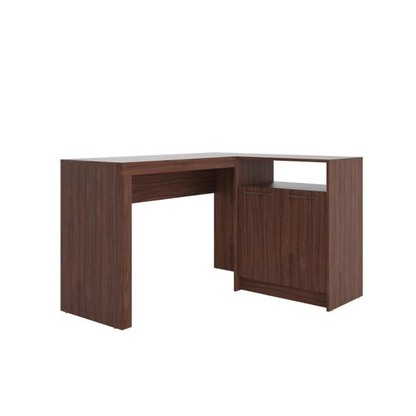 Manhattan Comfort Kalmar Dark Brown L Shaped Office Desk With Inclusive Cabinet