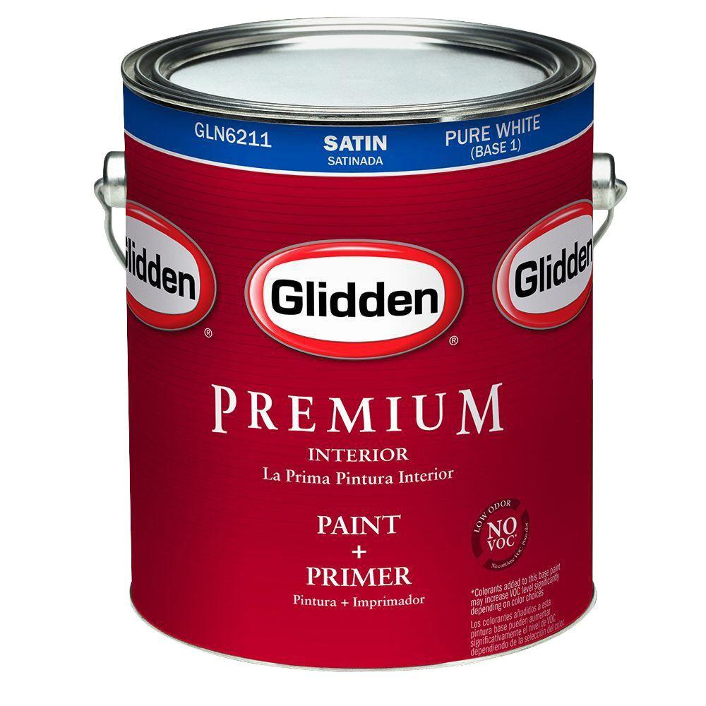 glidden premium 1 gal pure white satin interior paint. Black Bedroom Furniture Sets. Home Design Ideas
