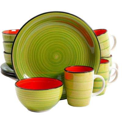 Color Fling 12-Piece Green and Red Dinnerware Set