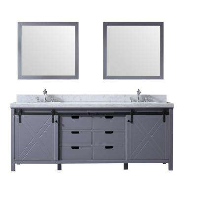Marsyas 84 in. Double Bath Vanity in Dark Grey w/ White Carrera Marble Top w/ White Square Sinks and 34 in. Mirrors