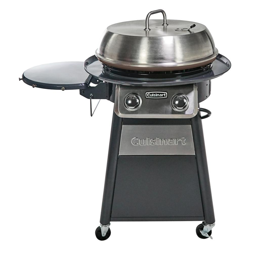 Cuisinart 2-Burner Propane Gas 360-Degree Griddle Cooking Center in Gray with Stainless Steel Lid