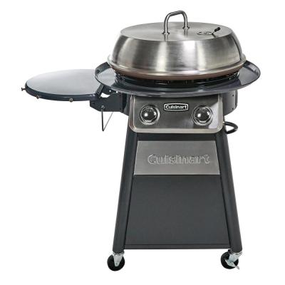 2-Burner Propane Gas 360-Degree Griddle Cooking Center in Gray with Stainless Steel Lid