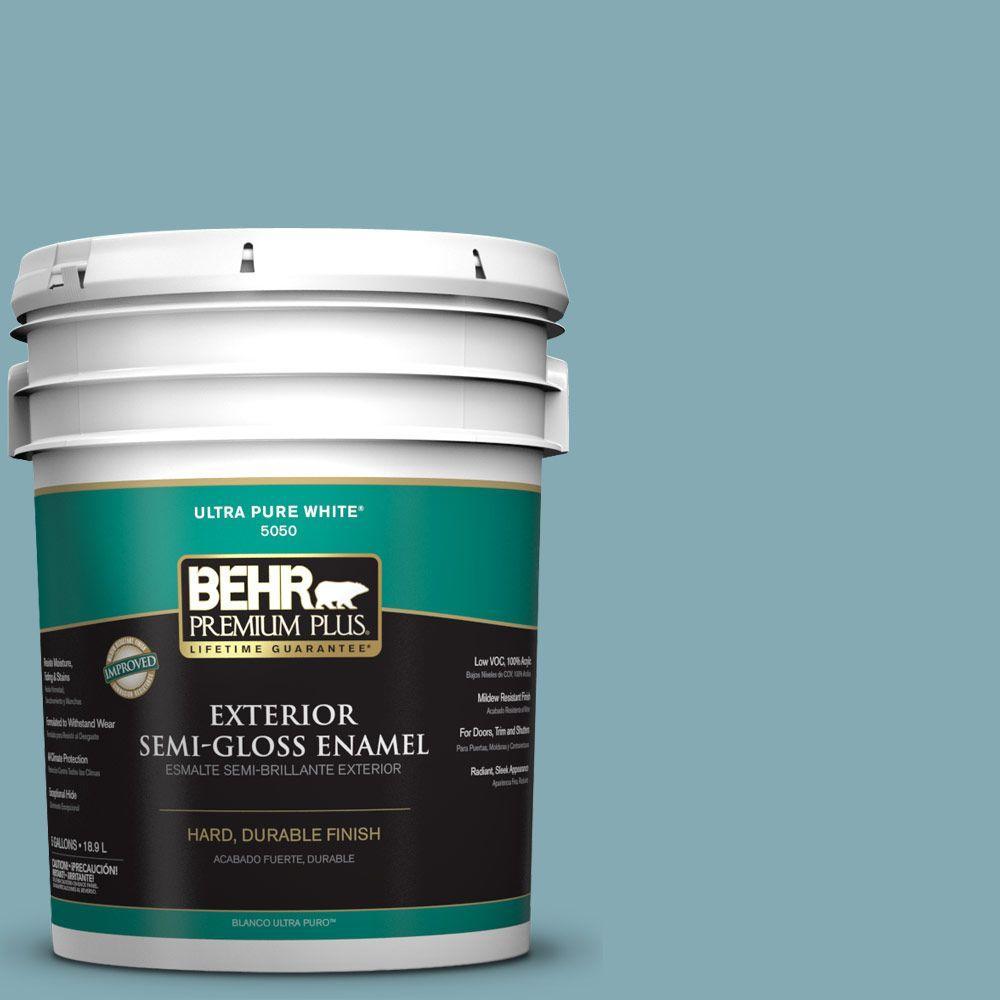 BEHR Premium Plus 5-gal. #S450-4 Crashing Waves Semi-Gloss Enamel Exterior Paint