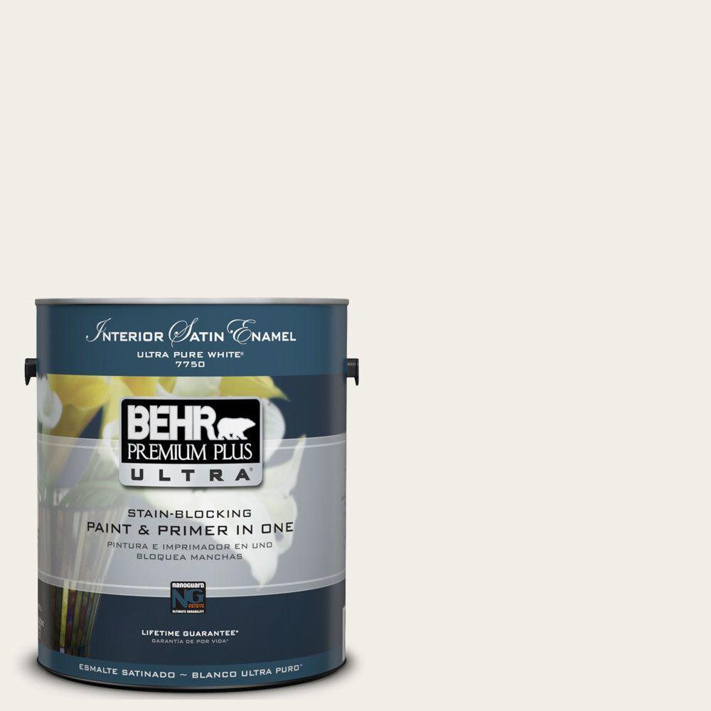 BEHR Premium Plus Ultra 1-Gal. #UL200-12 Snowy Pine Interior Satin Enamel Paint