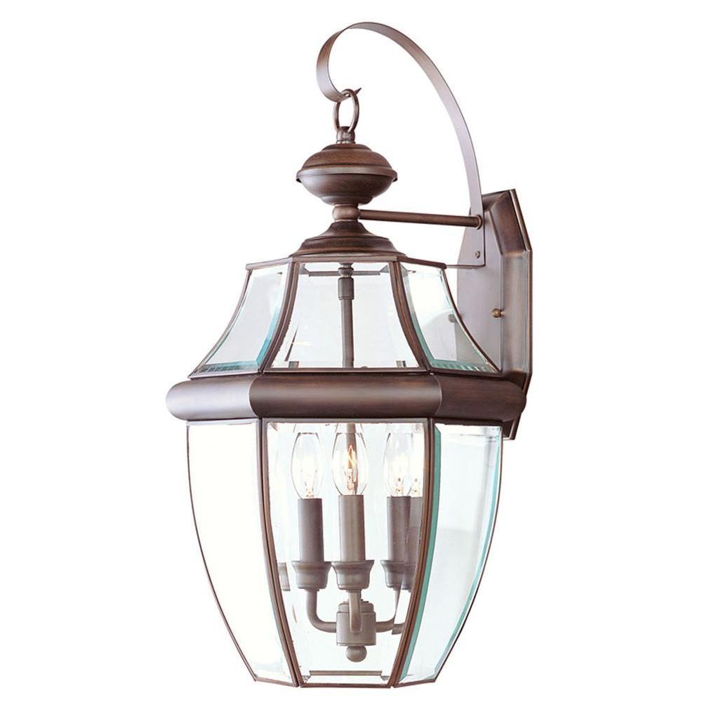 Livex Lighting Providence Wall-Mount 3-Light Imperial Bronze Outdoor Incandescent Lantern