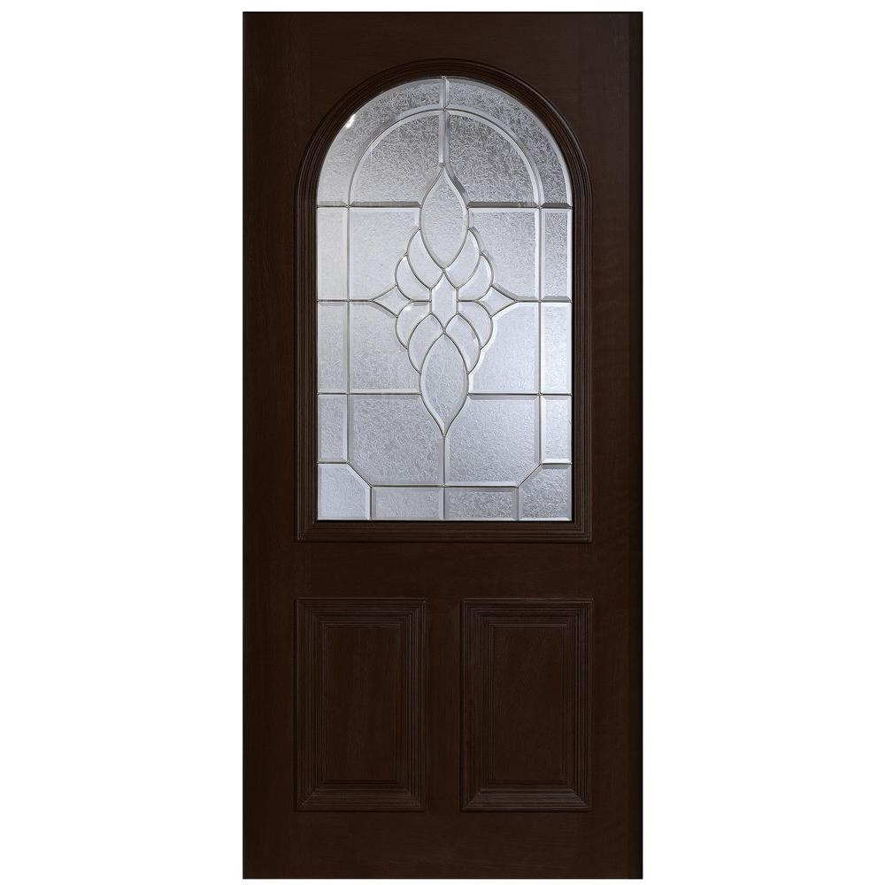 Main Door 36 in. x 80 in. Mahogany Type Round Top Glass Prefinished Espresso Beveled Zinc Solid Stained Wood Front Door Slab