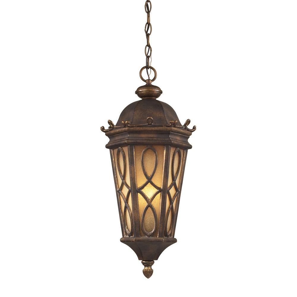 Titan Lighting Burlington Junction 3-Light Hazelnut Bronze Outdoor Hanging Pendant