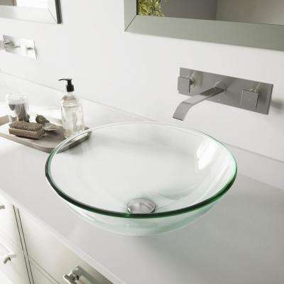 Glass Vessel Bathroom Sink in Clear Crystalline with Titus Wall-Mount Faucet Set in Brushed Nickel
