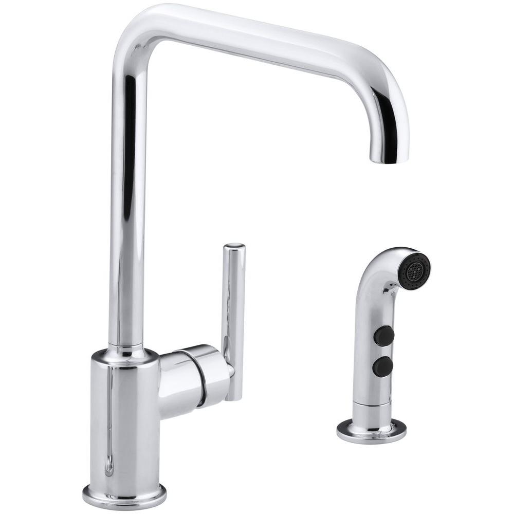 Purist Single-Handle Standard Kitchen Faucet with Side Sprayer in Polished