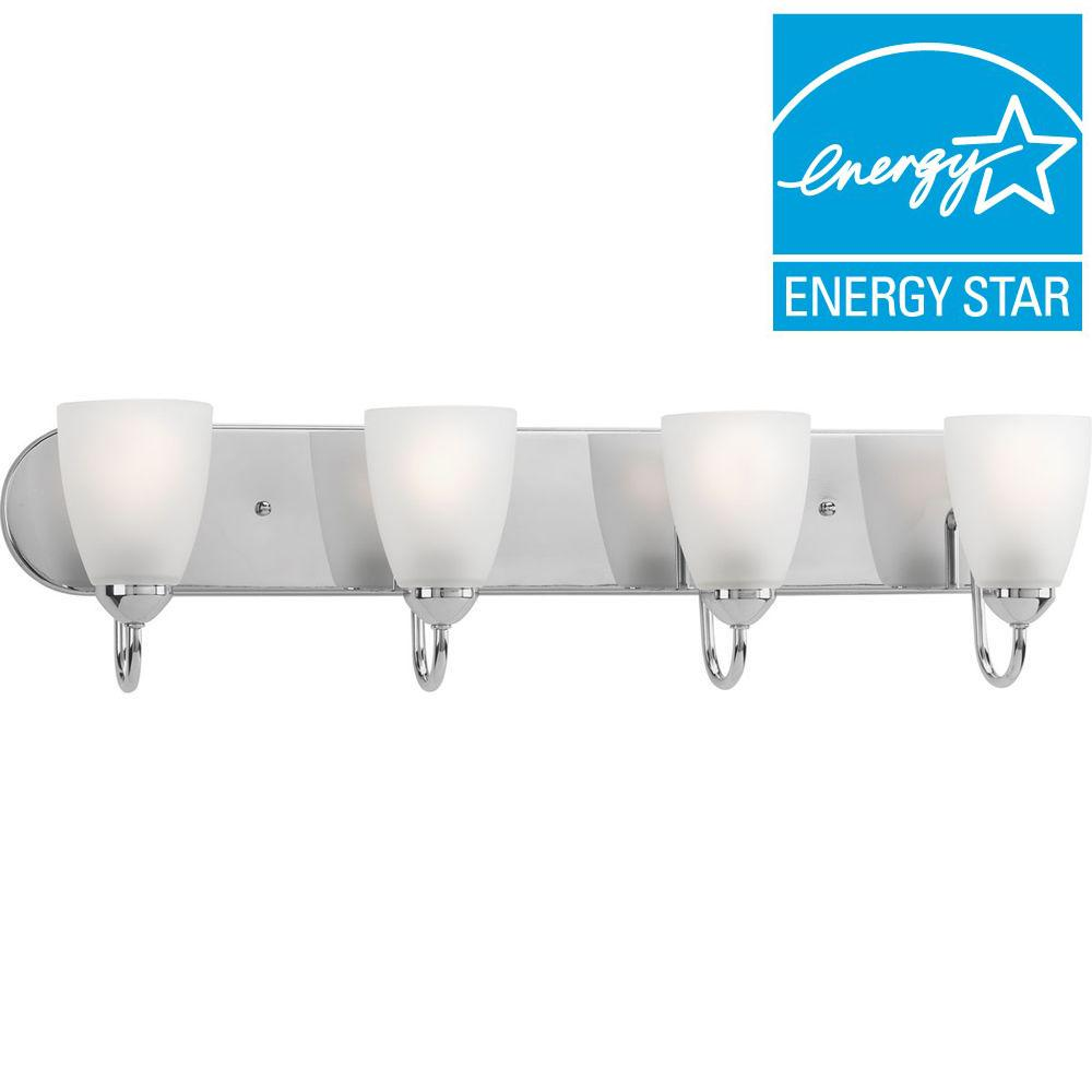 Progress Lighting Gather Collection 4-Light Polished Chrome Fluorescent Bath Light