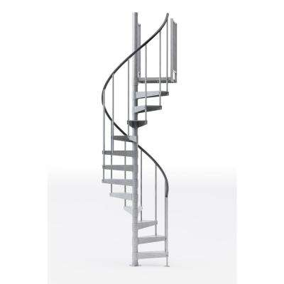 Reroute Galvanized 42 in. (3 ft. 6 in.) Wide 11 Treads with Two 42 in. H Platform Rails Spiral Stair Kit