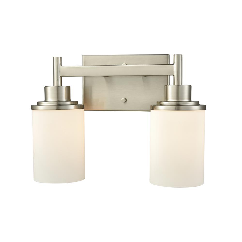 Belmar 2-Light Brushed Nickel With Opal White Glass Bath Light