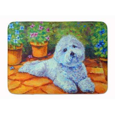 19 in. x 27 in. Bichon Frise on the Patio Machine Washable Memory Foam Mat