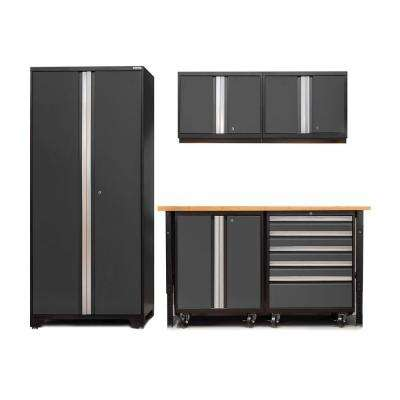 Pro 3 Series 85 in. H x 102 in. W x 24 in. D 18-Gauge Cabinet Set in Gray with Workbench and Casters (6-Piece)