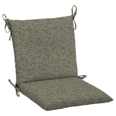 20 x 17 Outdoor Dining Chair Cushion in Standard Waterfall Scroll