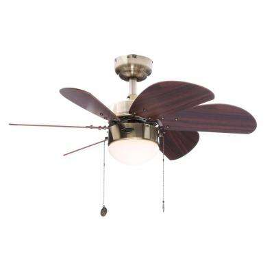 Turbo Swirl 30 in. Indoor Antique Brass Finish Ceiling Fan