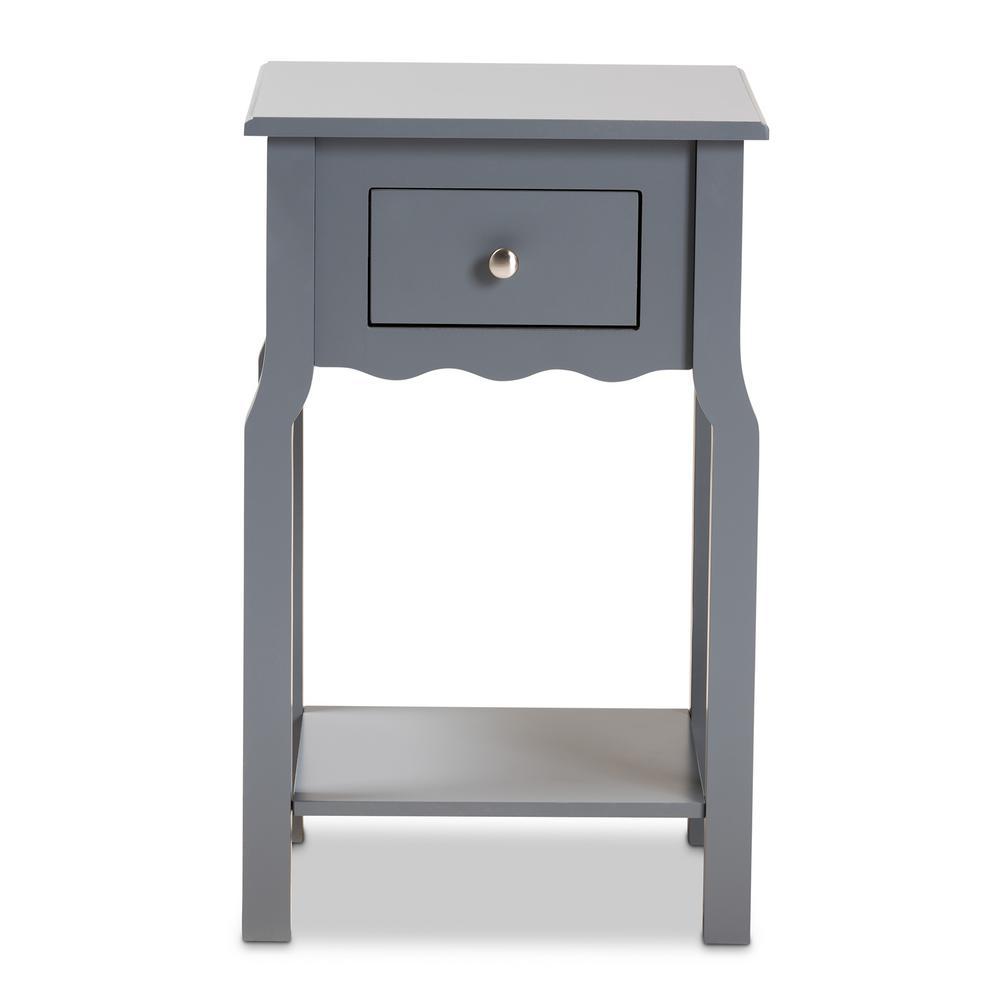 1-Drawer Hailey Dark Grey and Silver Nightstand