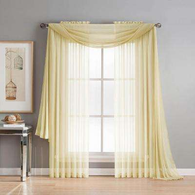 Diamond Sheer Voile 56 in. W x 216 in. L Curtain Scarf in Yellow