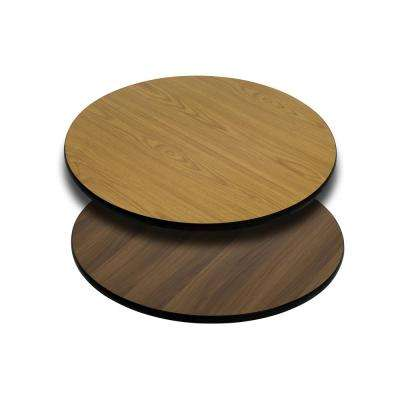 24 in. Round Natural and Walnut Table Top with Reversible Laminate Top