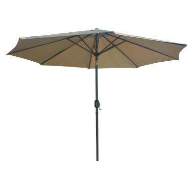 9.8 ft. Market Outdoor Steel Table with Push Button Tilt and Crank Patio Umbrella in Beige