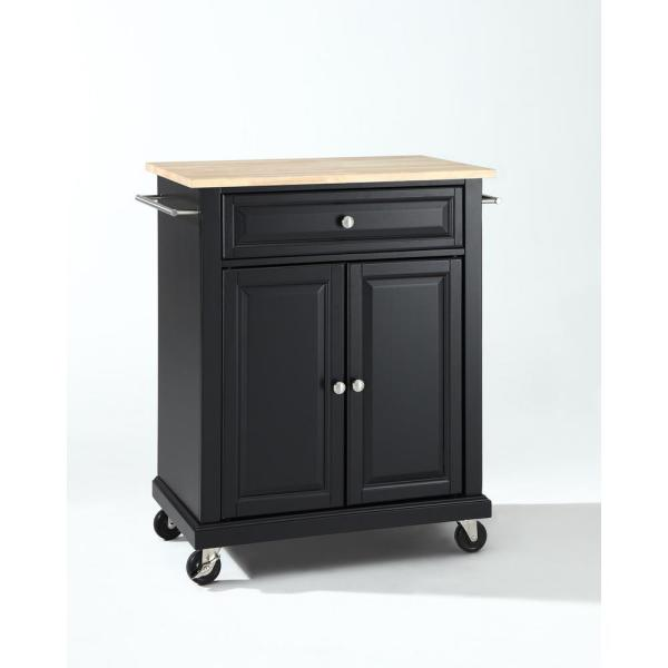 Rolling Black Kitchen Cart with Natural Wood Top