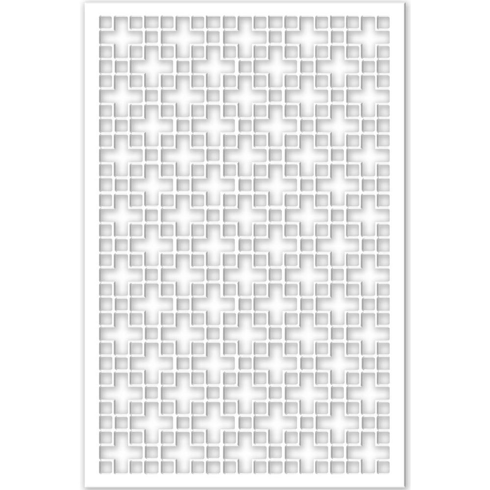 Chinese Square 32 in. x 4 ft. White Vinyl Decorative Screen