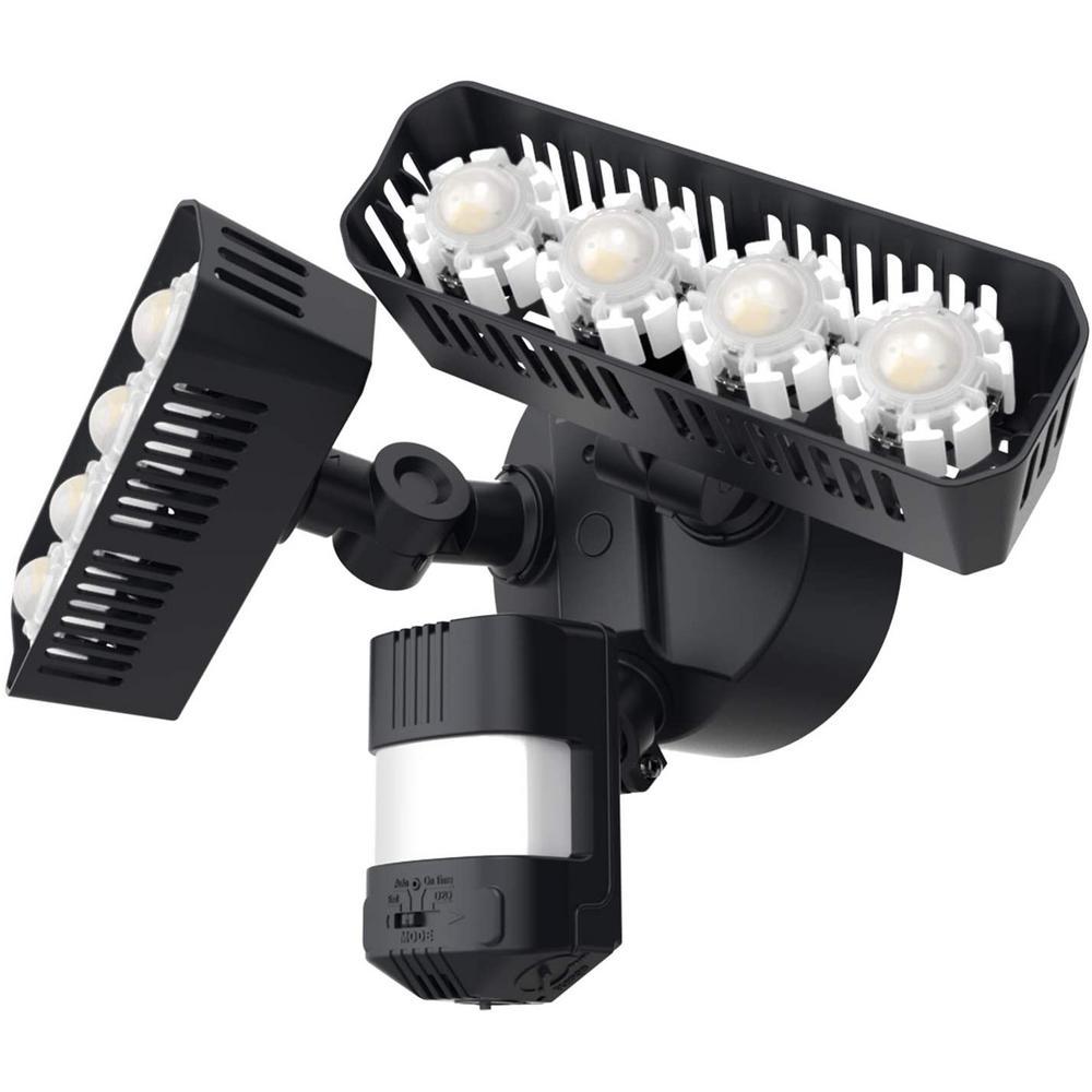 36W 180-Degree Black Motion Sensor Dusk to Dawn Outdoor LED Waterproof Flood Security Light, 3600 Lumens 5000K Daylight