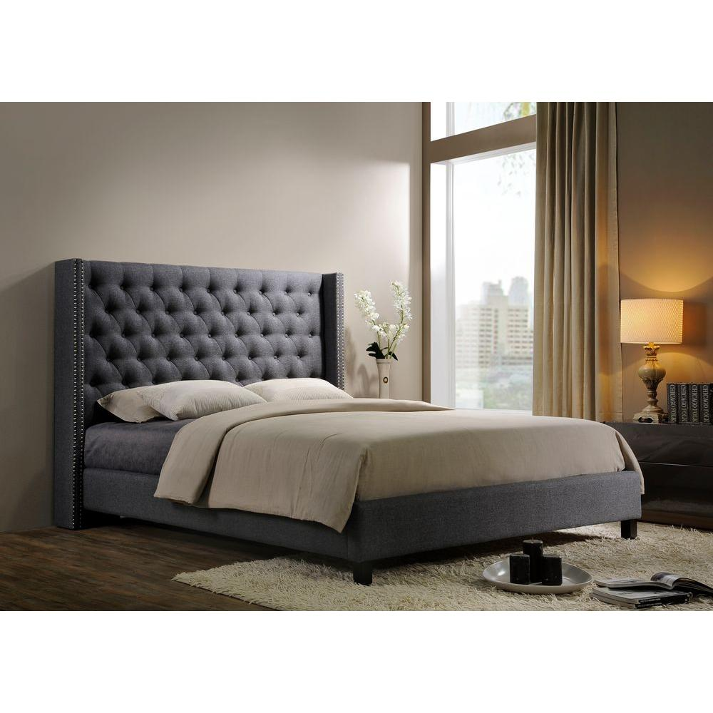 pacifica gray queen upholstered bed. platform  beds  headboards  bedroom furniture  the home depot