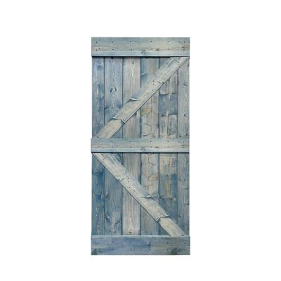 K Series 38 in. x 84 in. Solid Denim Blue Stained Pine Wood Interior Sliding Barn Door Slab