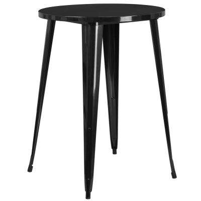 Black Round Metal Outdoor Bistro Table