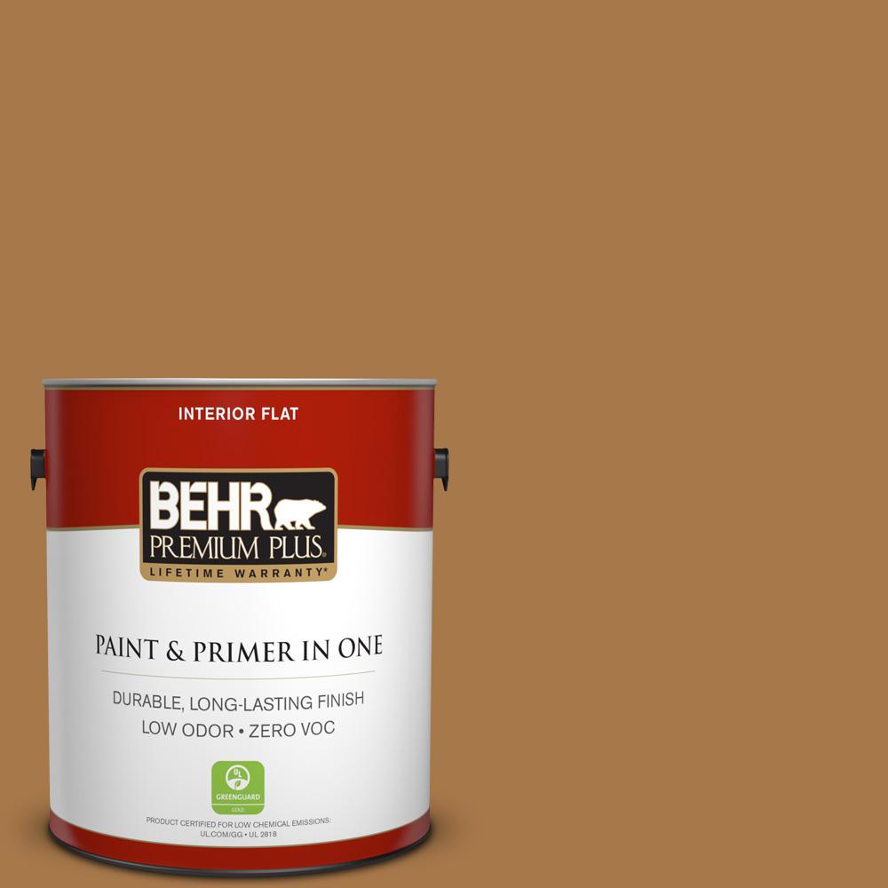 1 gal. #HDC-CL-18A Butter Caramel Zero VOC Flat Interior Paint
