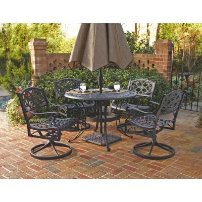 Sanibel 48 in. Black 5-Piece Cast Aluminum Round Swivel Outdoor Dining Set