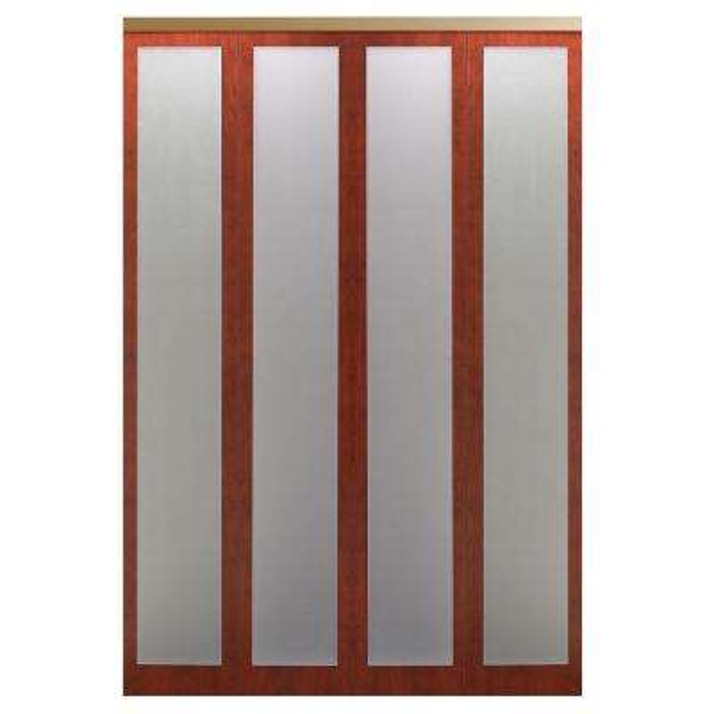 Mir-Mel Cherry Mirror Gold Trim Solid MDF Interior Closet Bi-fold Door