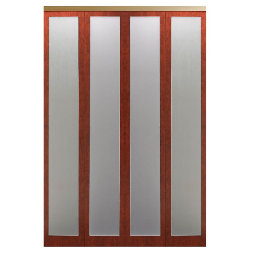 Impact Plus 72 in. x 96 in. Mir-Mel 1-Lite Cherry Mirror Solid Core MDF Interior Closet Wood Bi-Fold Door with Gold Trim